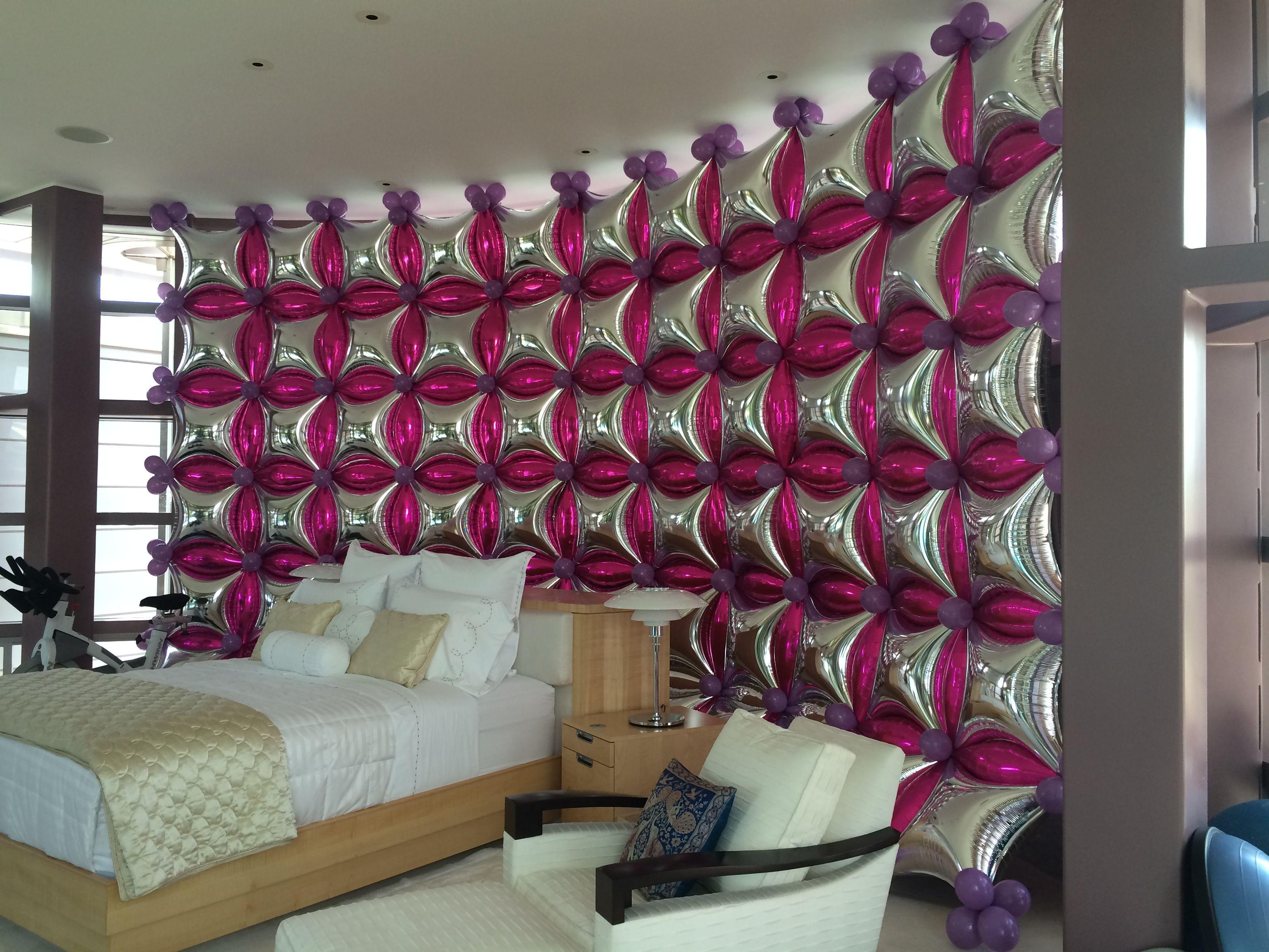Balloon Wall Silver And Hot Pink Event Deror Of Wall