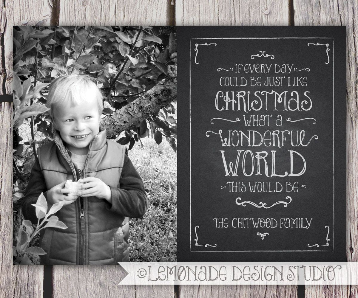 chalkboard christmas card holiday card typography photo card