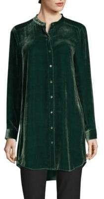 01b3ee8037946 Eileen Fisher Velvet Mandarin-Collor Tunic Shirt Fashion