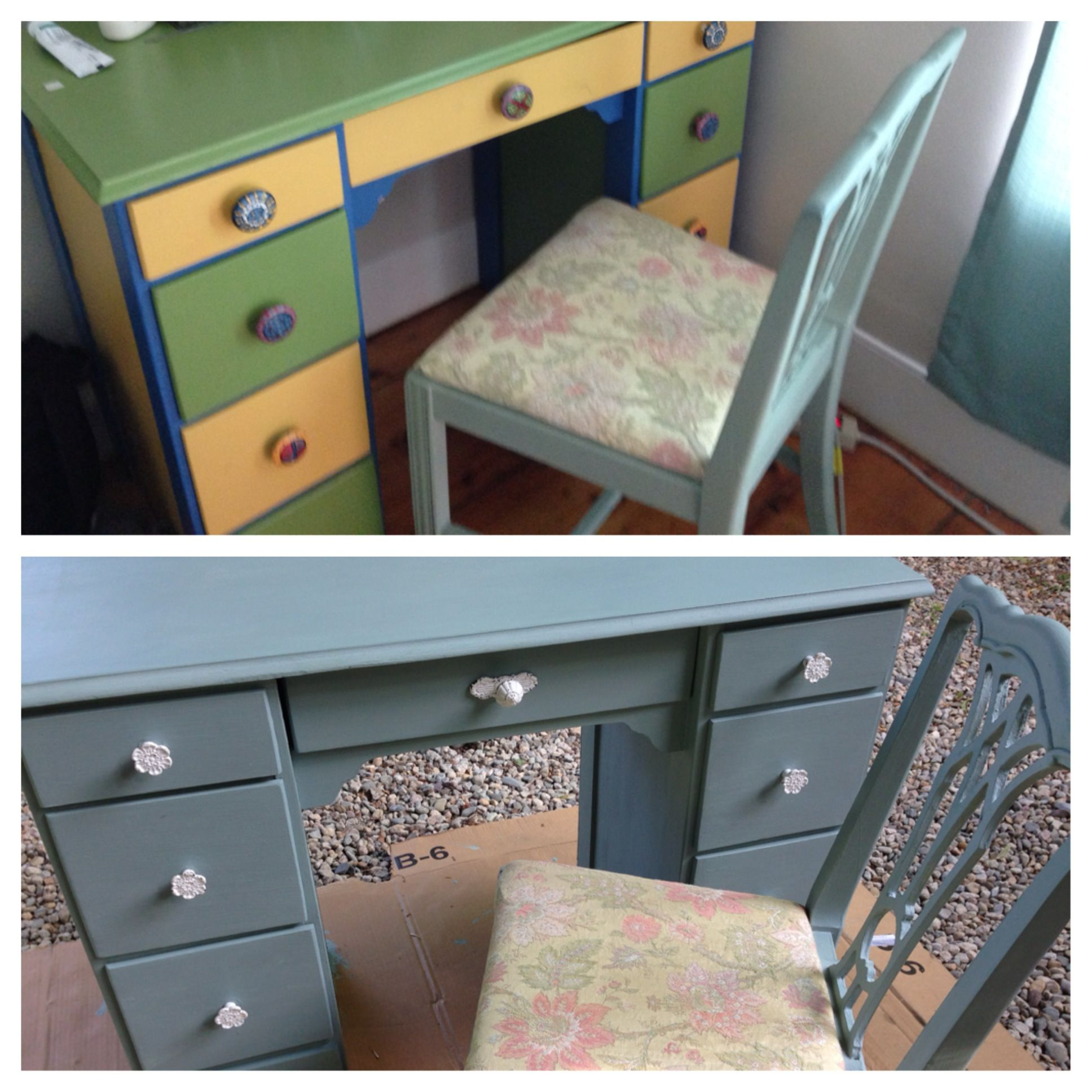 DIY Duck Egg chalk paint vanity.  Purchased kid's desk at a tag sale.  Knobs from Madden Blue.