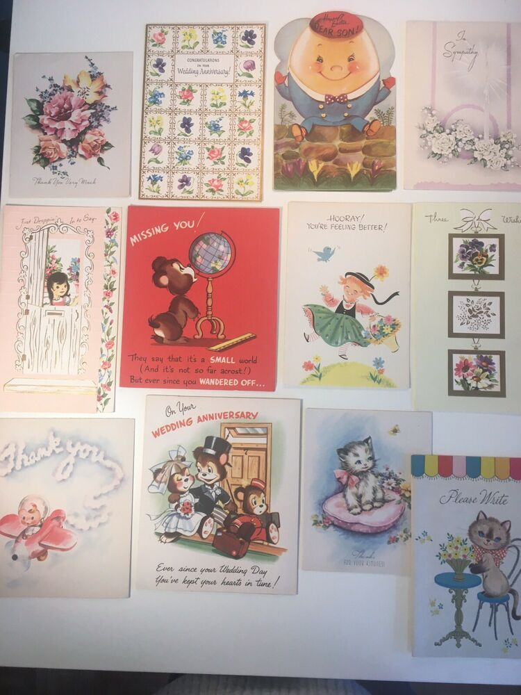 Details about vintage greeting card lot of 12 mixed