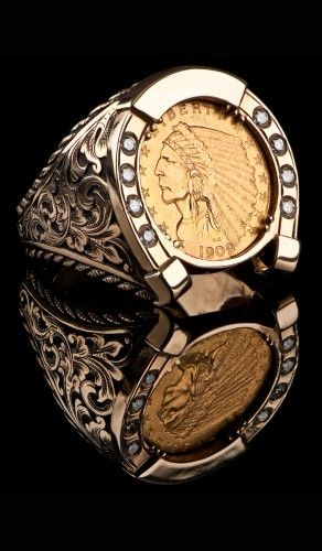 1909 Indian Head Horse Shoe Ring Cr 601 Bellevue Wa Rings For Men Mens Jewelry Coin Jewelry