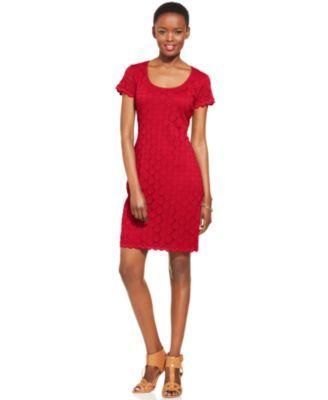 Ronni Nicole Short-Sleeve Crochet Lace Sheath