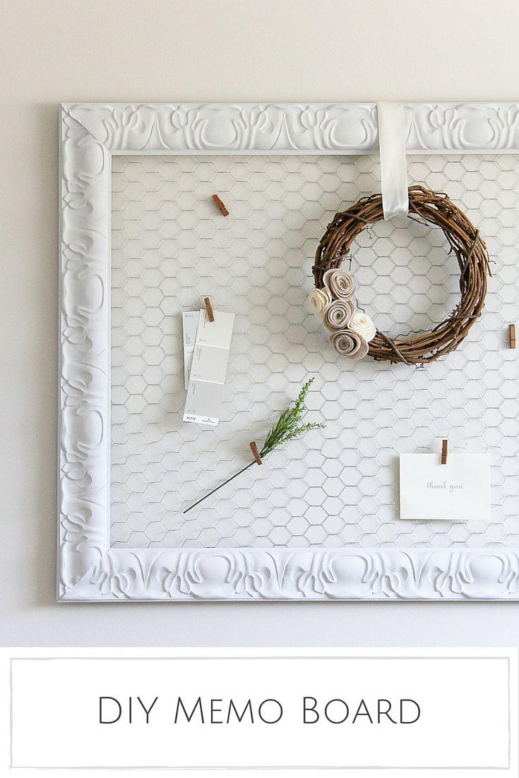 DIY Memo Board | Diy memo board, Chicken wire and Farmhouse style