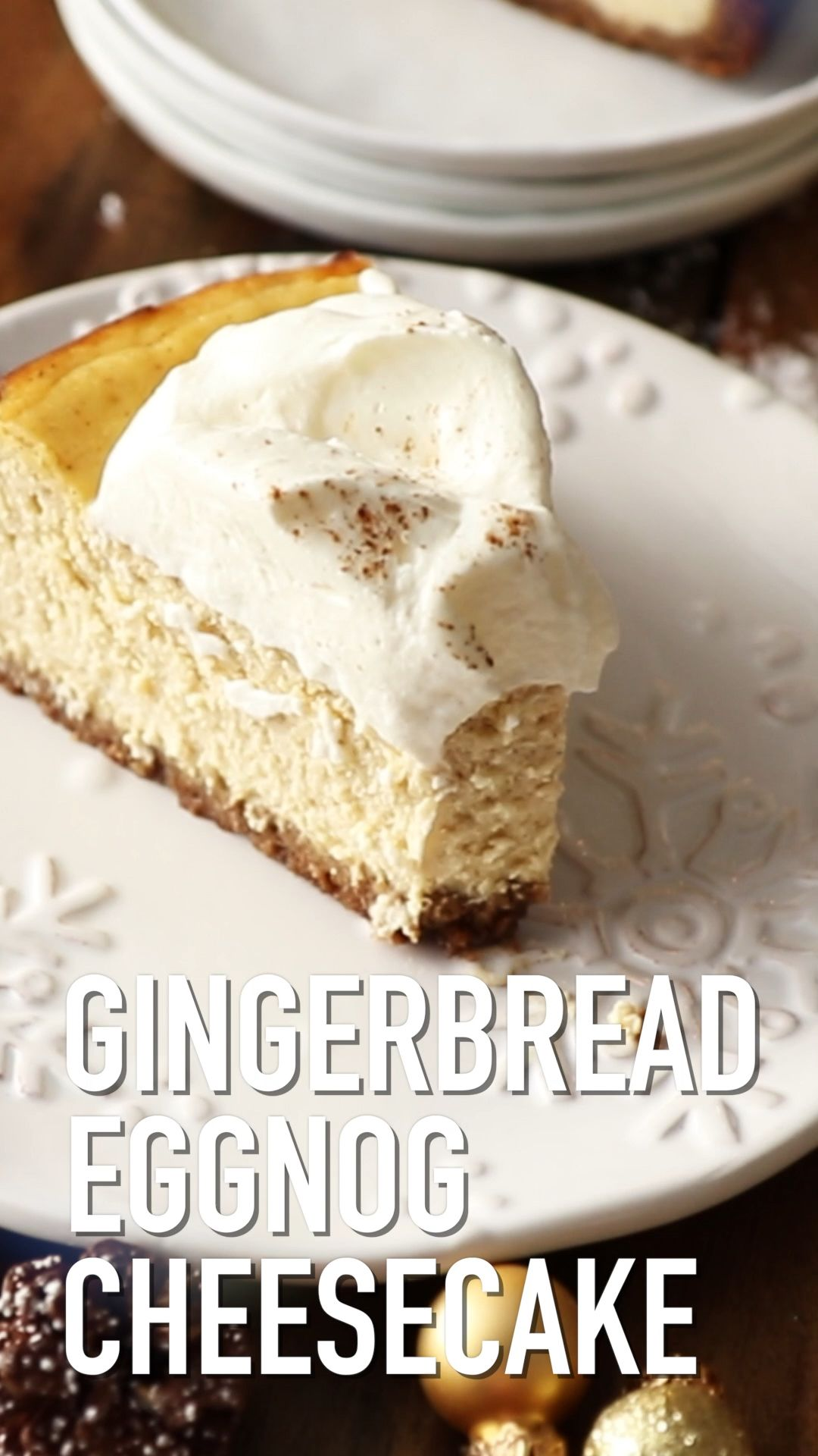 Eggnog Cheesecake with Gingerbread Crust | Also The Crumbs Please