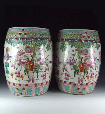 Terrific Pair Of Chinese Antique Famille Rose Porcelain Garden Stool Pabps2019 Chair Design Images Pabps2019Com