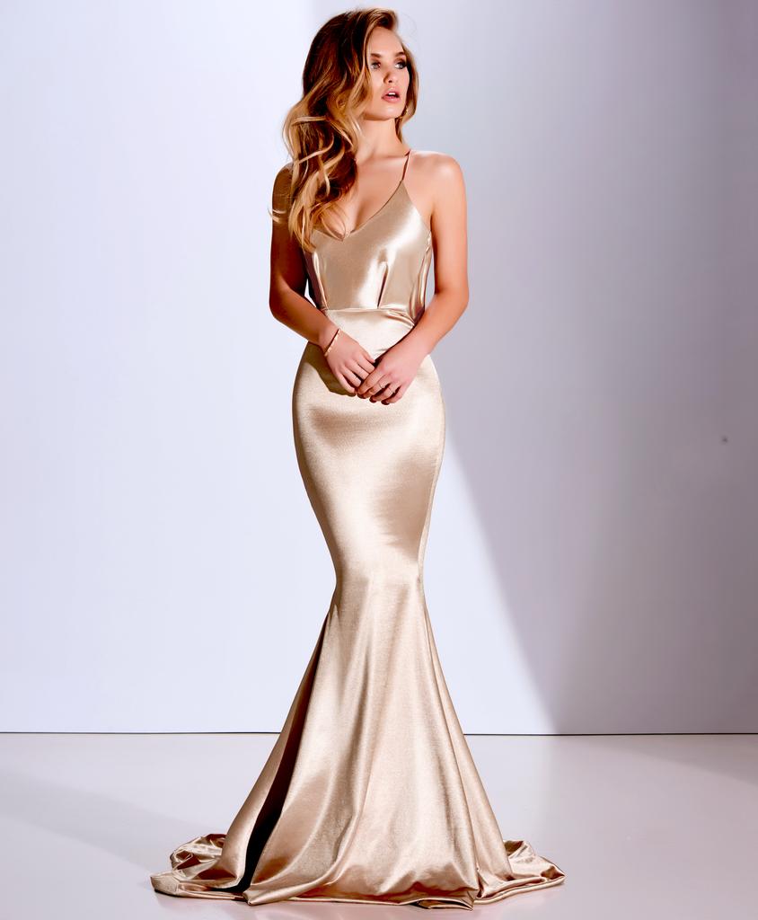 Sexy mermaid prom dress champagne prom dress spaghetti straps long