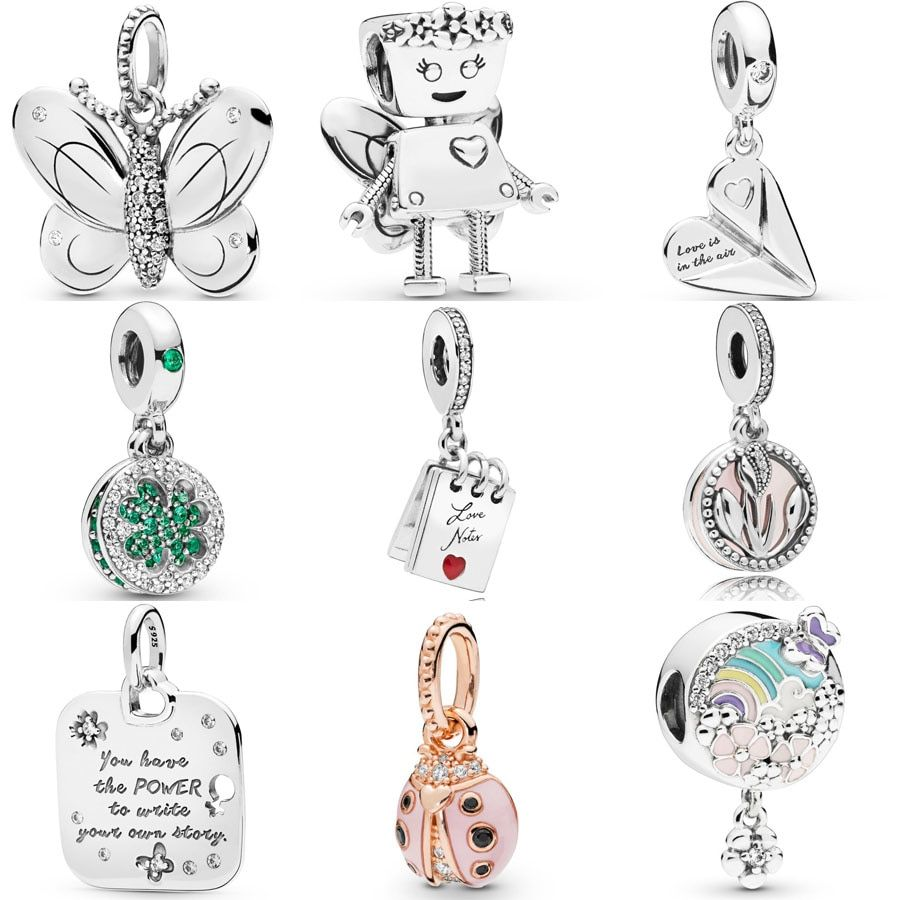 97807efc4 NEW 925 Sterling Silver Butterfly Flying Pendant Ladybird charm Fit pandora  Bracelet Necklace Floral Bella Bot Charm DIY Jewelry.