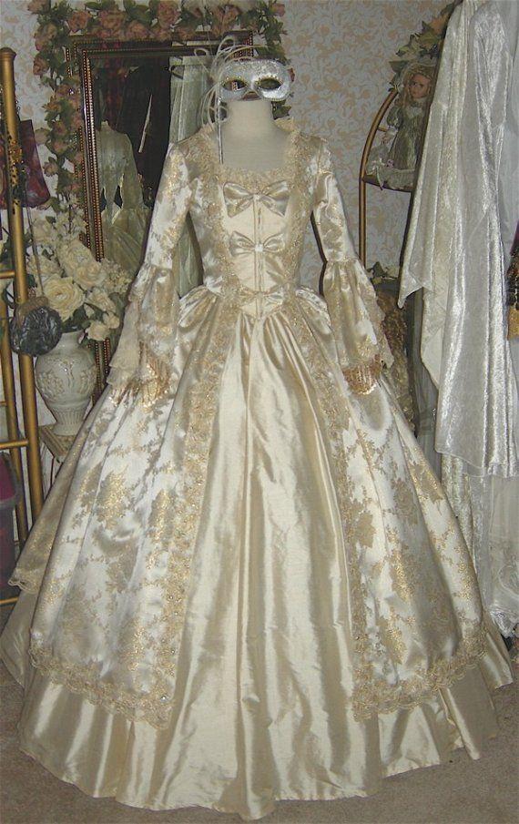 Marie Antoinette Fantasy Kleid Seide und Brokat mit Bogen - Custom ...