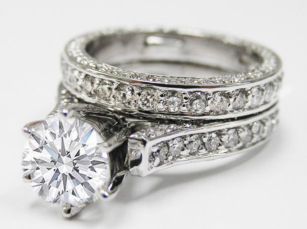 Pave Eternity Round Diamond Cathedral Engagement Ring Matching Wedding