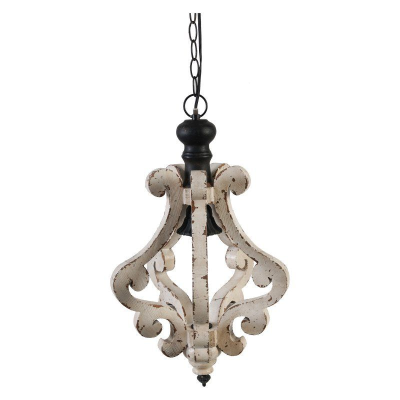 A B Home Distressed White Wood Chandelier Wooden Chandelier