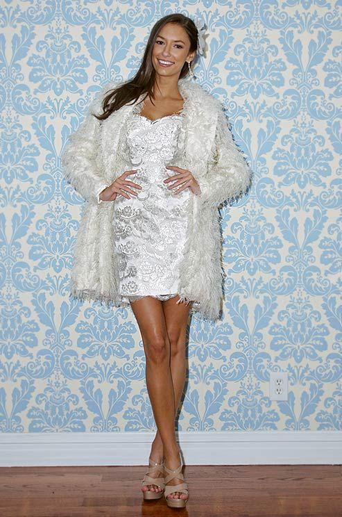 Modern Trousseau short wedding dress and jacket, Fall 2012 | Bridal ...