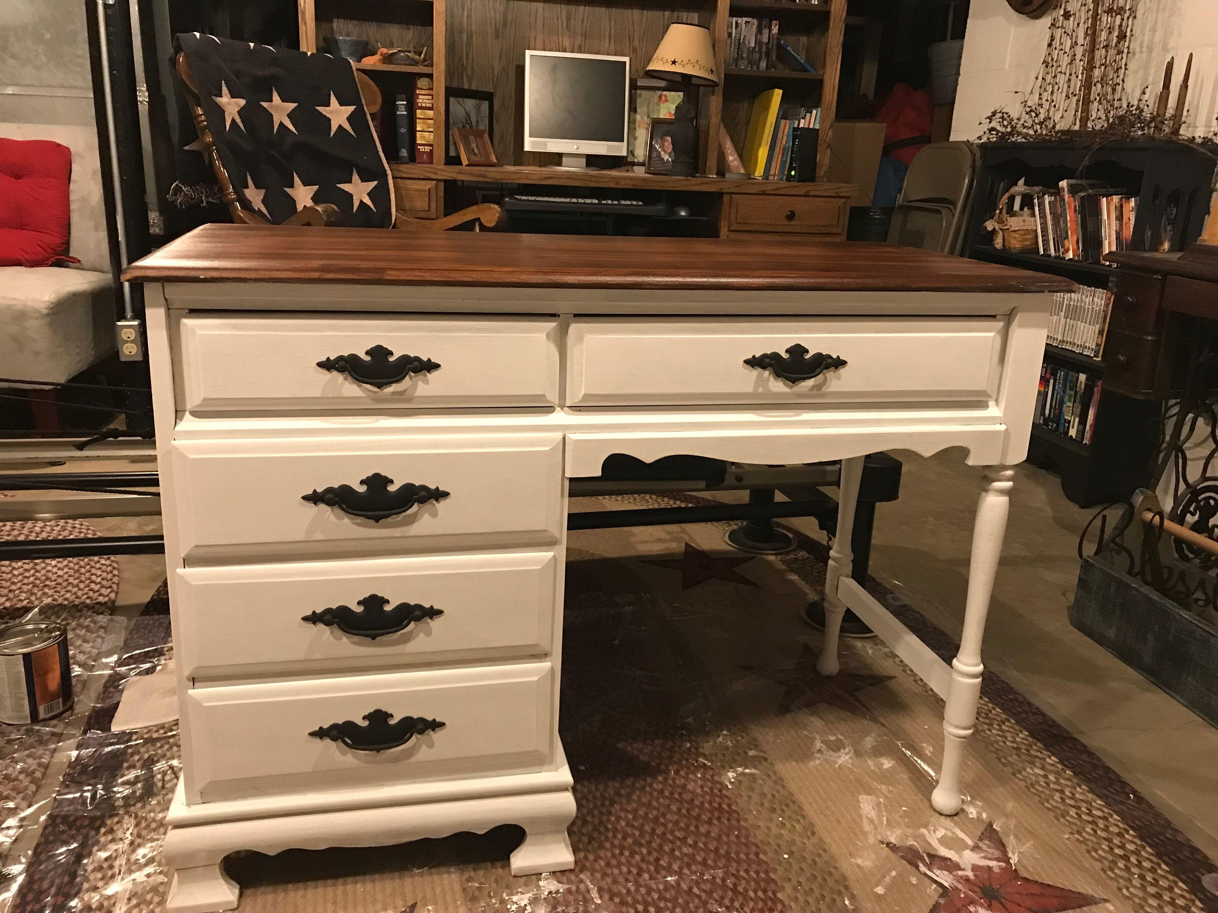 Farmhouse desk painted white with images farmhouse