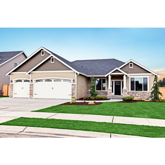 Ruby rambler with a 3 car garage beige exterior paint for Rambler house plans with 3 car garage