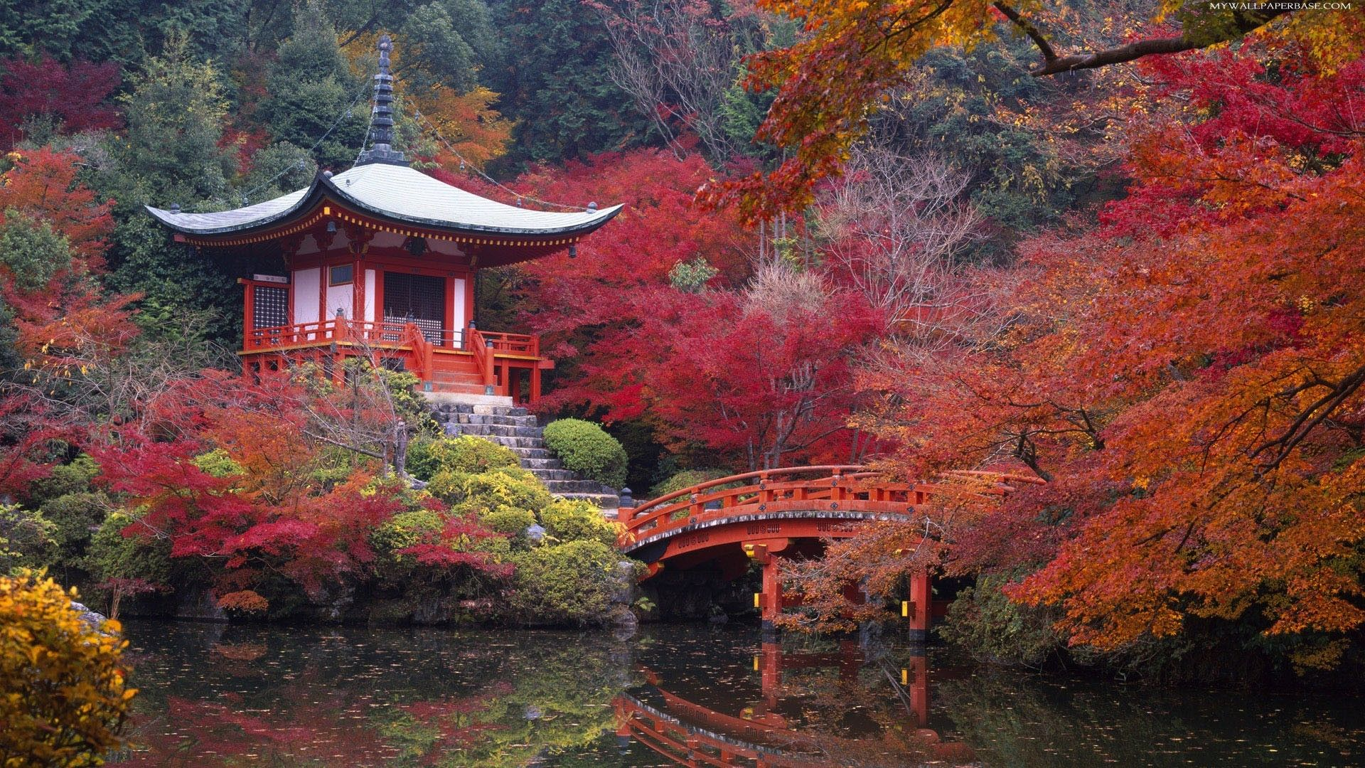 Gardening : Japanese Garden Autumn Leaf Beautiful Bridge Garden Japanese ~  Glubdubs