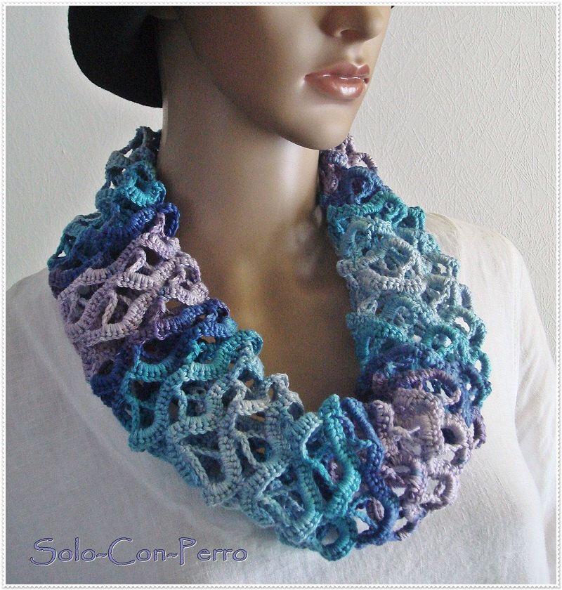 Nr. 8 Loop Schal Kette Häkel Kunst Crochet Handarbeit Baumwolle ...