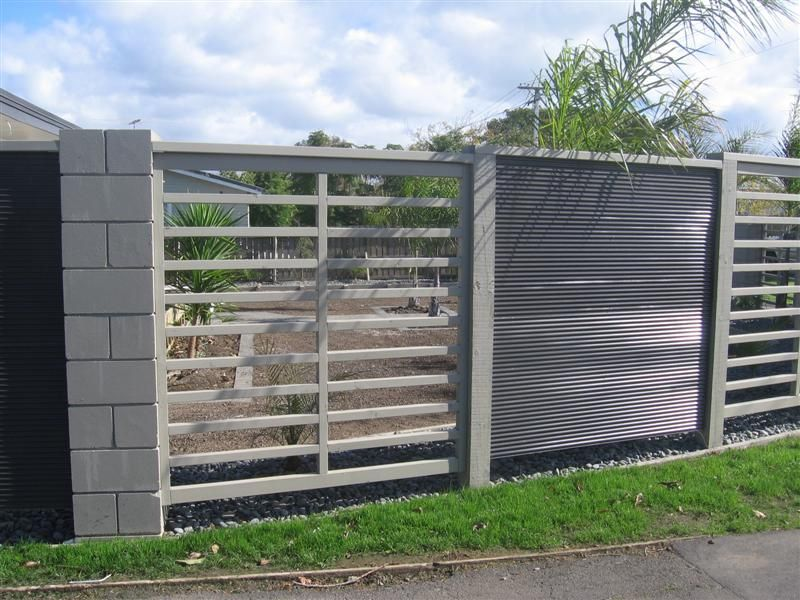Fence Black Stain Wood And Silver Corrugated Iron With Images