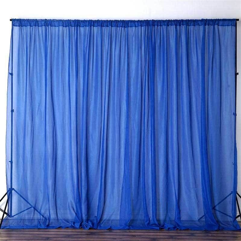 Pack Of 2 5ftx10ft Royal Blue Fire Retardant Sheer Organza Premium Curtain Panel Backdrops With Rod Pockets Custom Drapes Drapes Curtains Panel Curtains