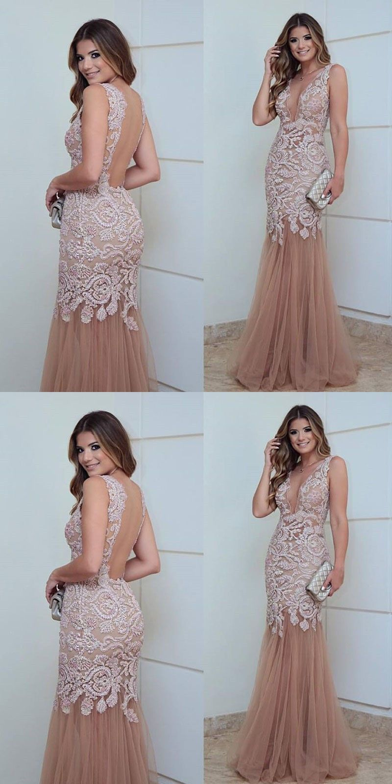 Mermaid deep vneck light champagne tulle prom dress with appliques