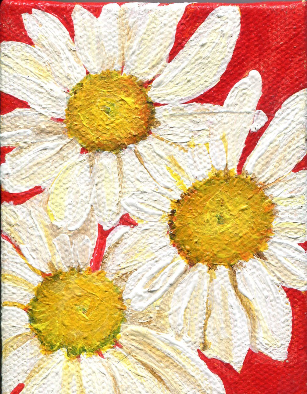 Shasta Daisies Mini acrylic painting canvas art, 3\