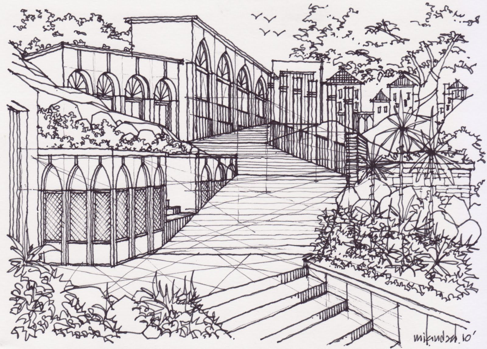 Three Point Perspective Drawing Landscape Design Drawing And