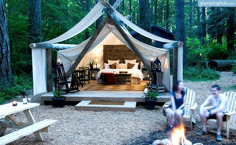 Exclusive luxury canvas cabins in olympia washington for Woods prospector tent
