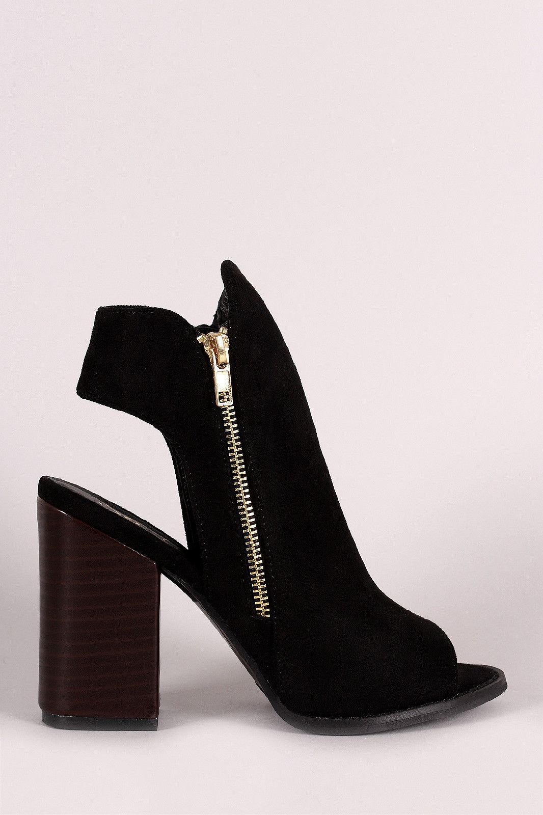 Suede Double Side Zipper Peep Toe Booties   Products    Products Pinterest ... 16399c
