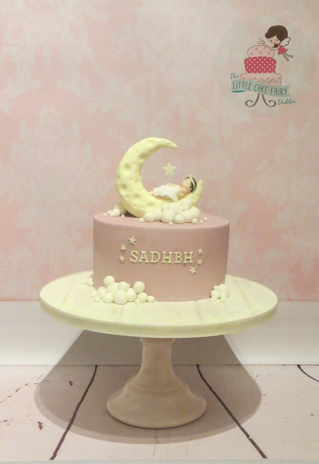 Pink Moon And Stars Christening Cake With A Twinkle Twinkle