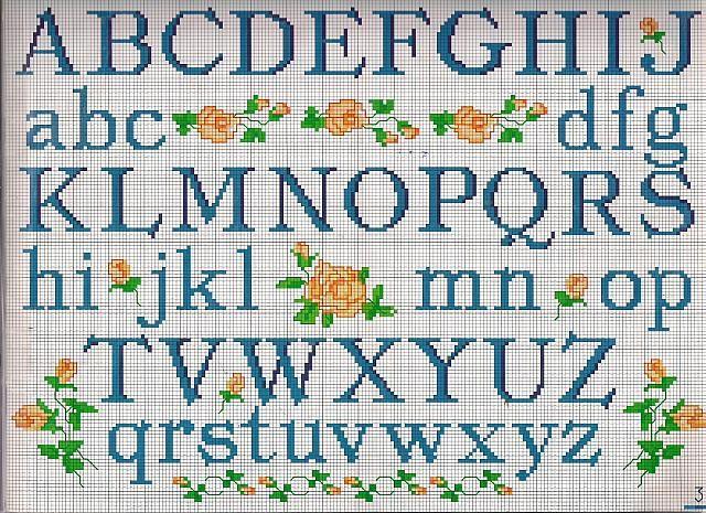 Alfabeto stampatello monograma cross stitch alphabet for Schemi punto croce alfabeto bambini