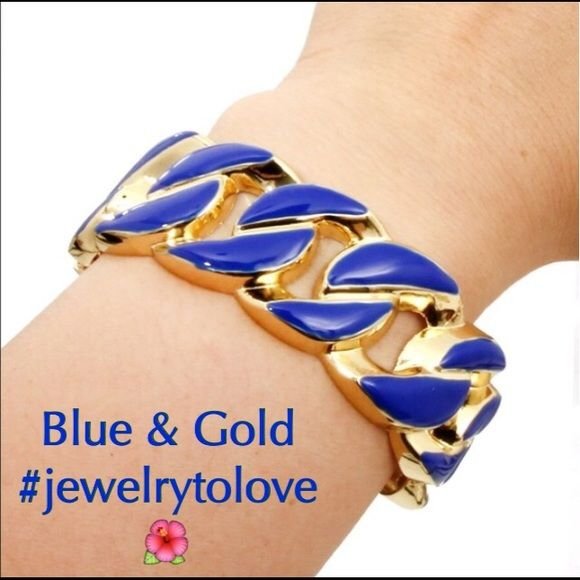 Gold Tone/Blue Chain Link Bracelet Gold Tone - Royal Blue Chain Link Bracelet.  Tag states not intended for children under the age of 14. Jewelry Bracelets