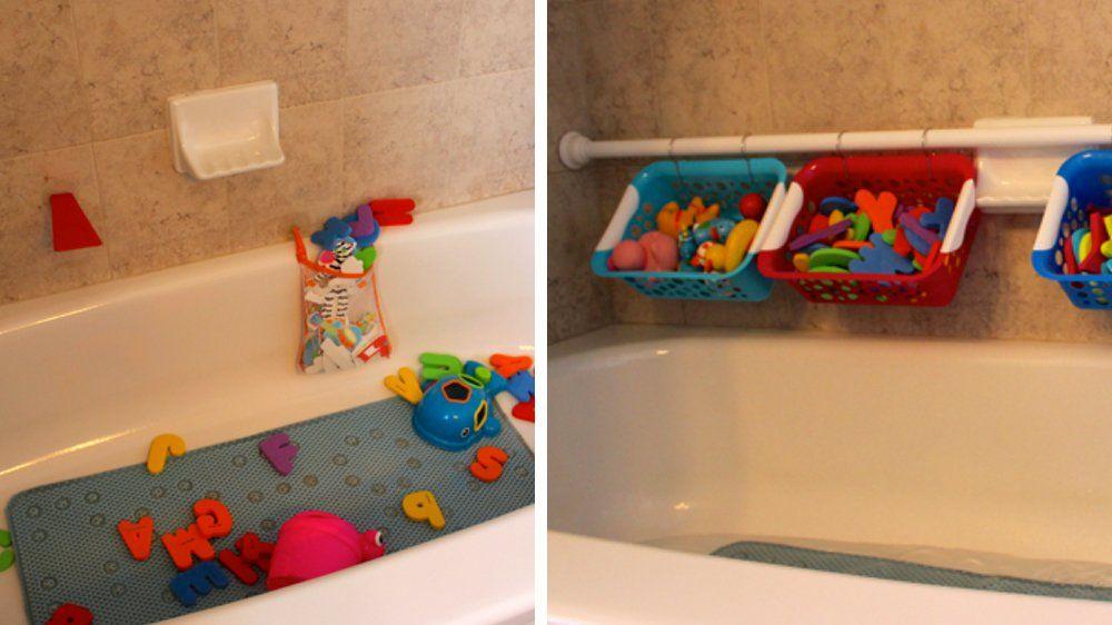 10 id es et astuces pour ranger les jouets pas b te rangement baignoire rangement jouets - Astuce rangement produit salle de bain ...