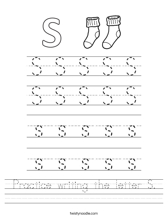 Practice writing the letter S. Worksheet Writing