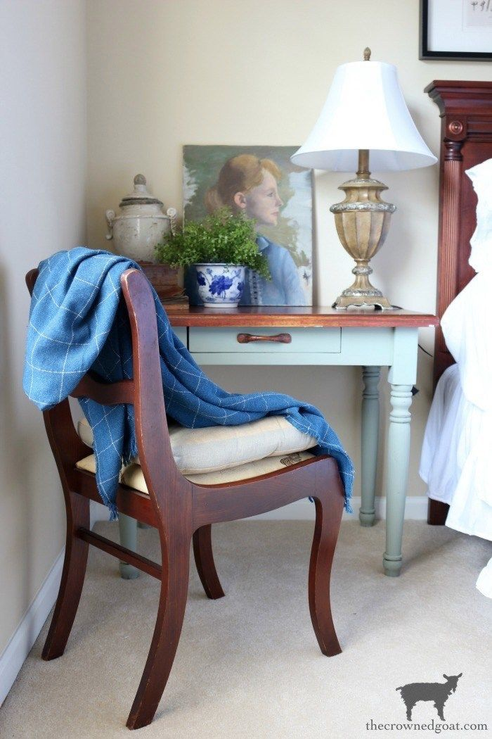 Blue and White Bedroom Refresh – The Crowned Goat - cool office