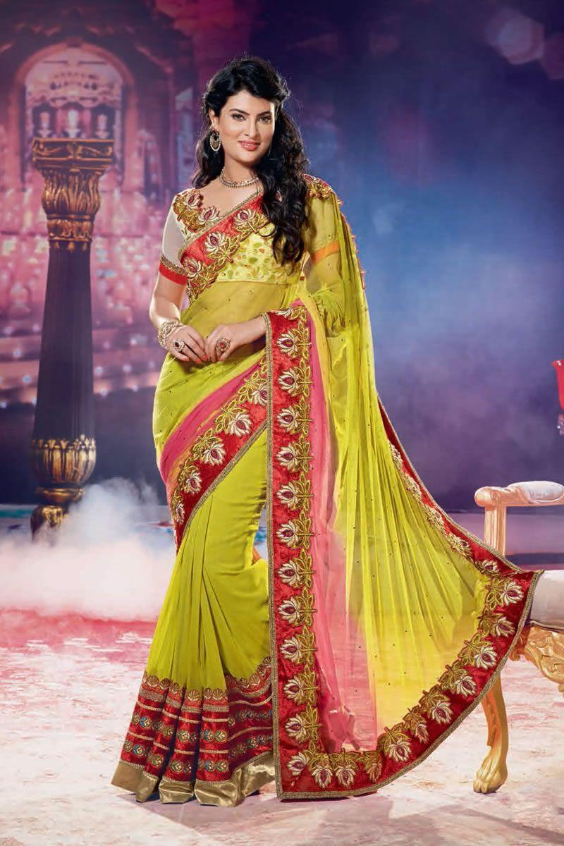 Lehenga saree for wedding bride yellow color designer wedding bridal lehenga saree  things to wear