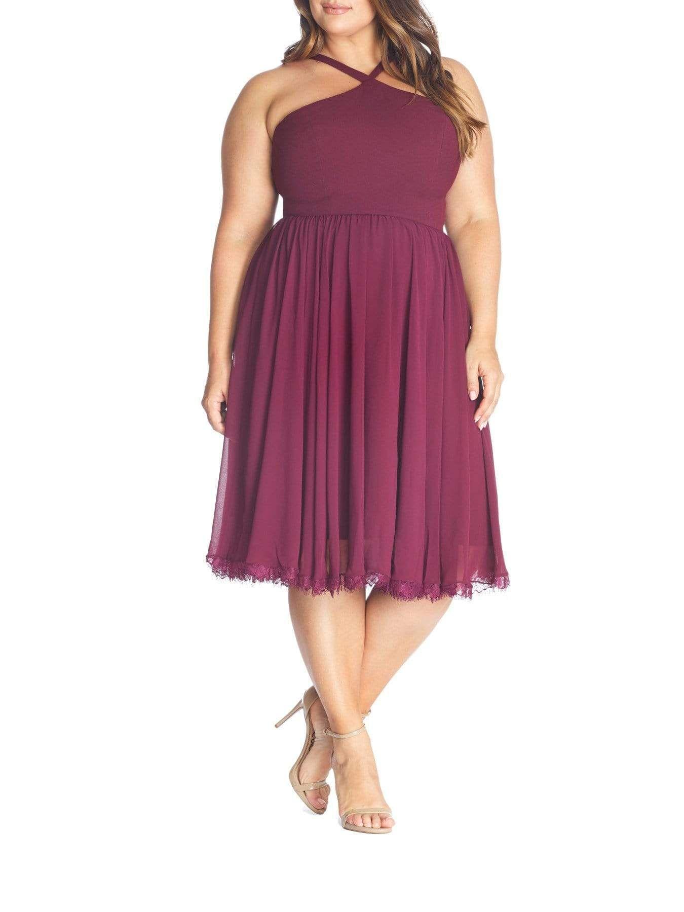 Photo of Dress The Population Dakota Halter Midi Dress in Burgundy