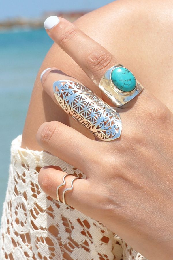 Flower of Live Long Silver Ring