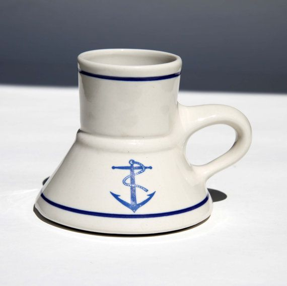04c1dbbf798 Captain Pirate No Spill Travel Mug Wide Base Narrow Top ANCHORS Coffee Tea  Driving Sailing the Office in Wedding White Navy Blue $28.00