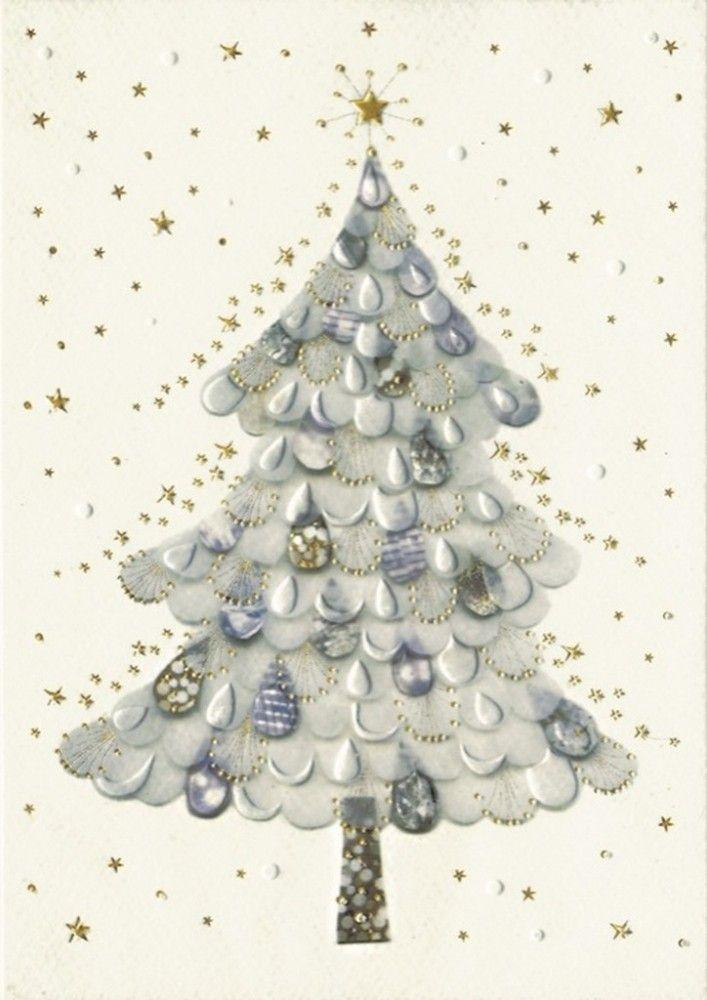weisser baum klapp weihnachtskarte mit kuvert. Black Bedroom Furniture Sets. Home Design Ideas