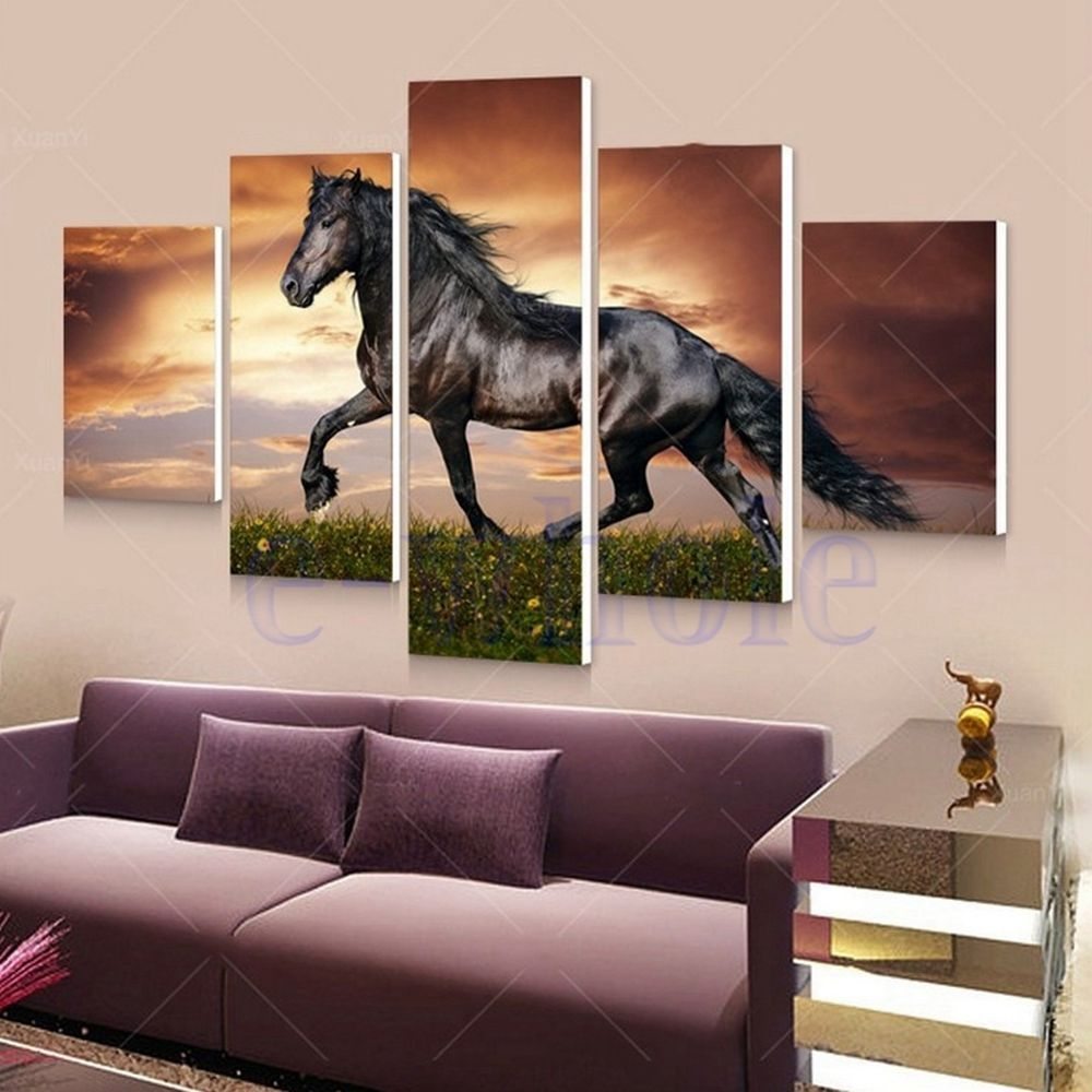 Black horse wall art painting picture canvas animal photo home decor