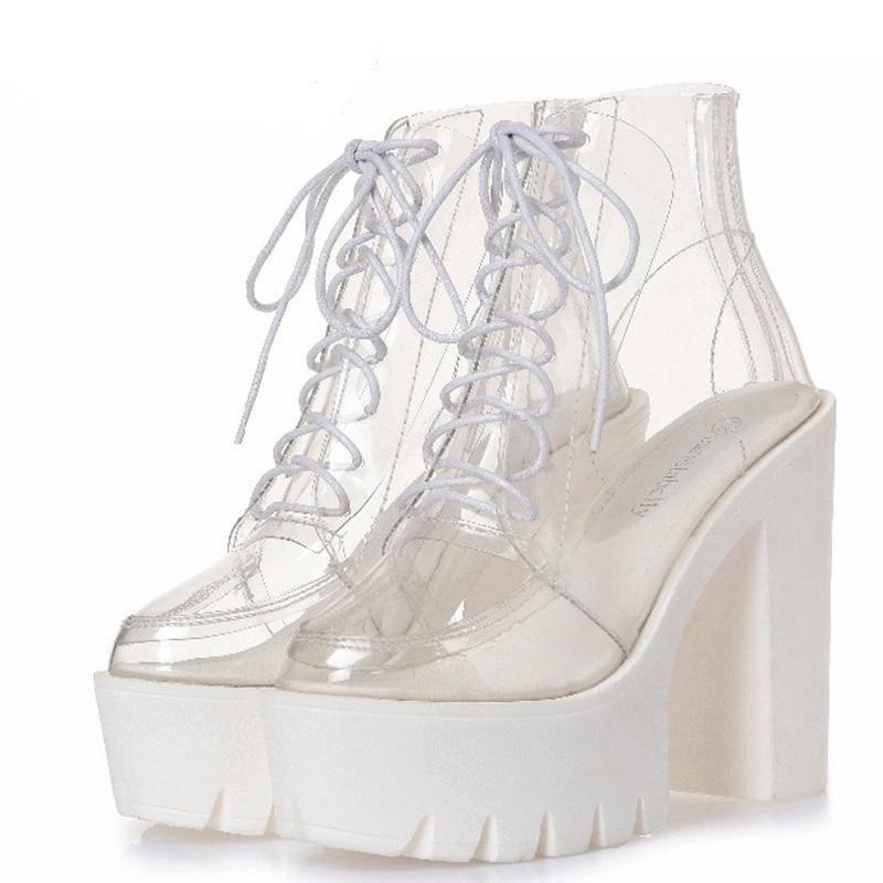 thick heels platform women autumn boots transparen