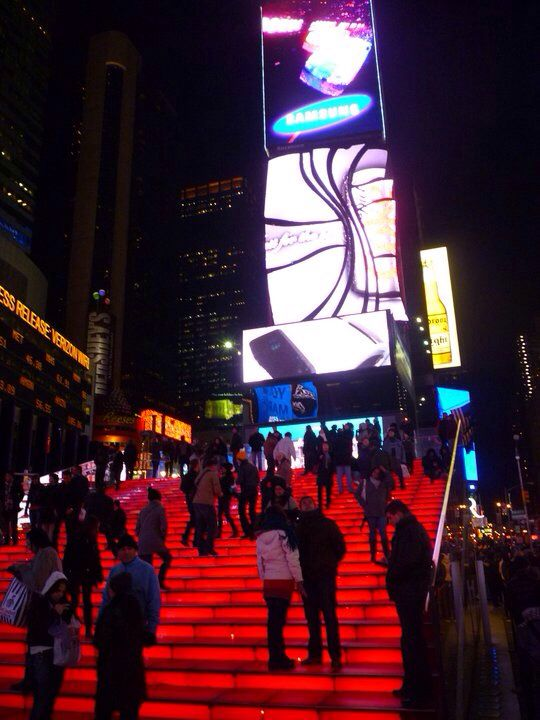 Red Stairs In Times Square New York City Nyc Times Square Times Square Stairs