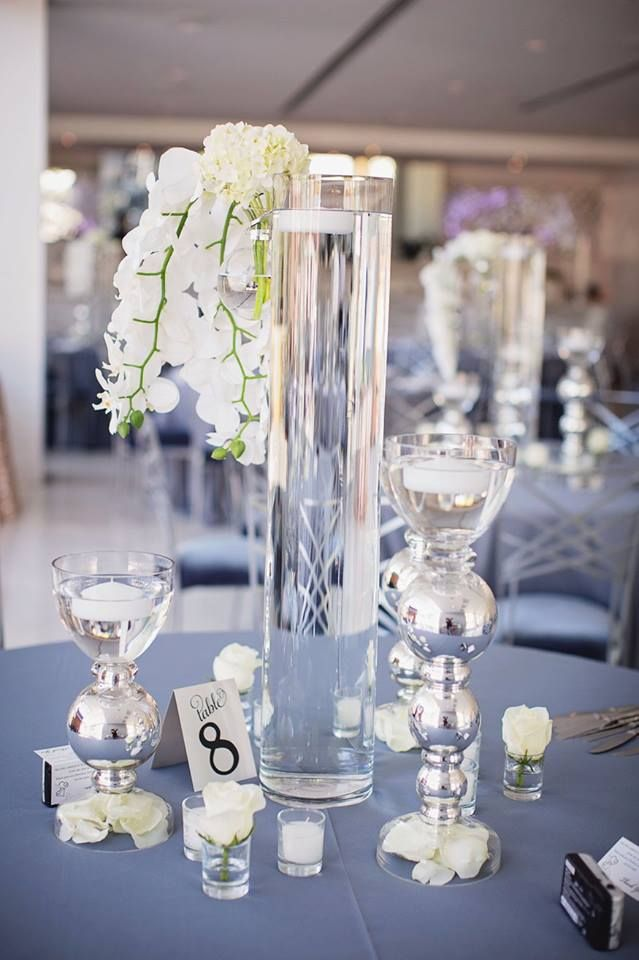 Gray Linens With White Flowers The Clayton On The Park Wedding