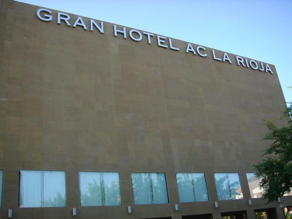 Hotel AC in La Rioja, Spain. Facade in different in thin stone panels sizes.