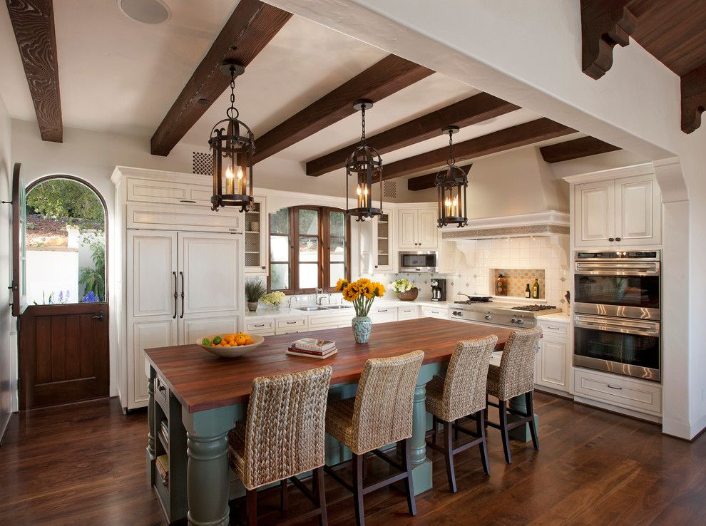 Wrought Iron Pendant Lighting Mediterranean Kitchen with Exposed ...