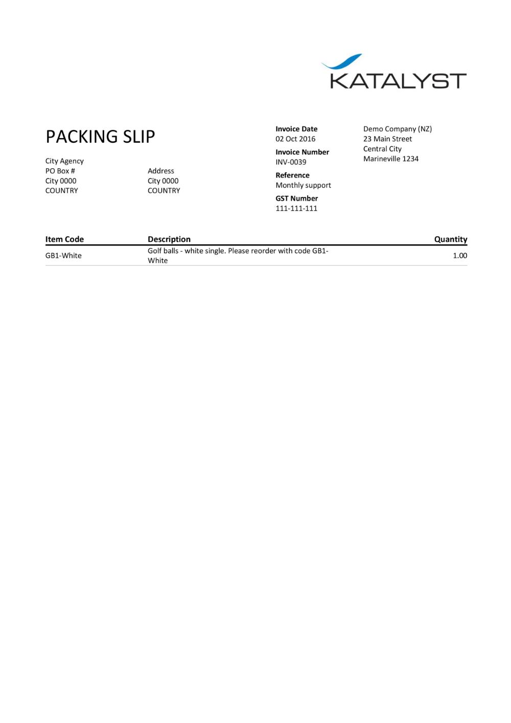 Xero Custom Template Packing Slip Katalyst Office Bookkeeper Inside Xero Custom Invoice Template 10 Profes Invoice Template Custom Templates Customs Invoice