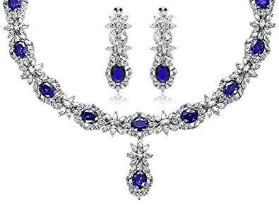 Silver Plated Jewelry Set Crystal CZ Rhinestone Flower Earrings Necklace Wedding Blue Aooaz Jewelry