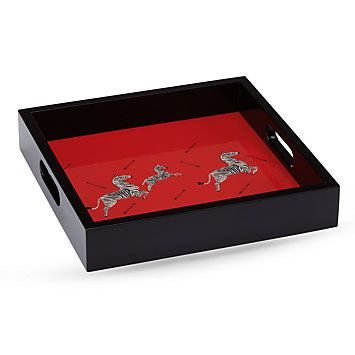 Scalamandre Zebras Lacquered Square Tray by Lenox