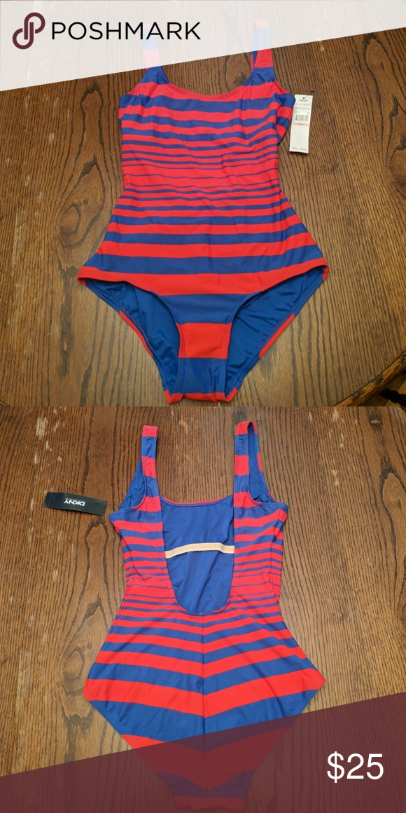 04ee331291 DKNY one piece swimsuit Red and blue striped DKNY one piece swimsuit. Never  worn. Hygienic liner still in place. Dkny Swim One Pieces
