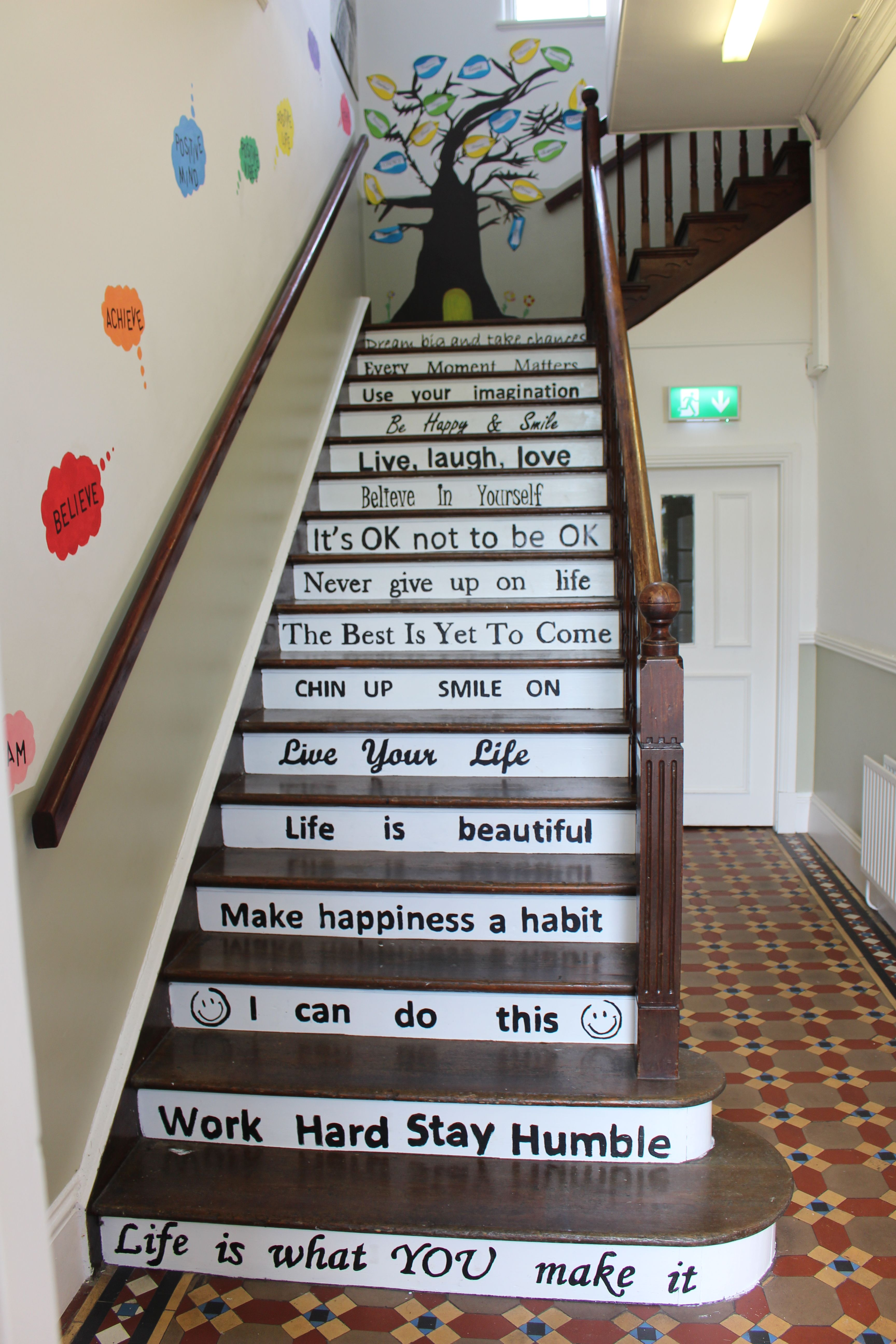 School Diy Project Motivational Quotes Stairs Steps Painting