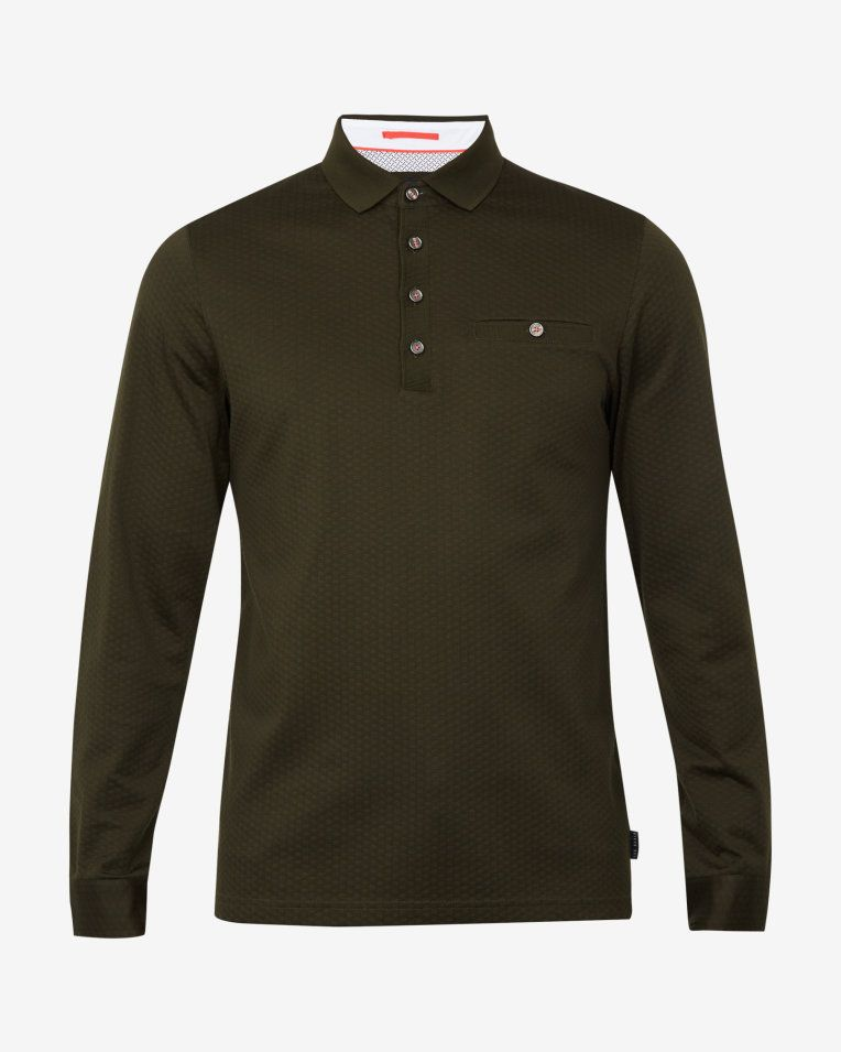 86e66f40d Long sleeved cotton polo shirt - Green | Tops and T-shirts | Ted Baker